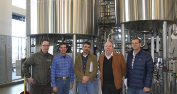 (L-R) Brewmaster Chad Kennedy, SunWest Project Supervisor Jon Page, SunWest Project Manager Mark Maxwell and Architects Neal Huston and Mark Ward of Neal Huston & Associates, Architects Inc.