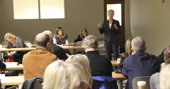 Becky Johnson speaking at the Oregon State-Cascades Campus Expansion Advisory Committee meeting