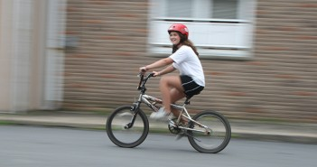 bike ride with helmet