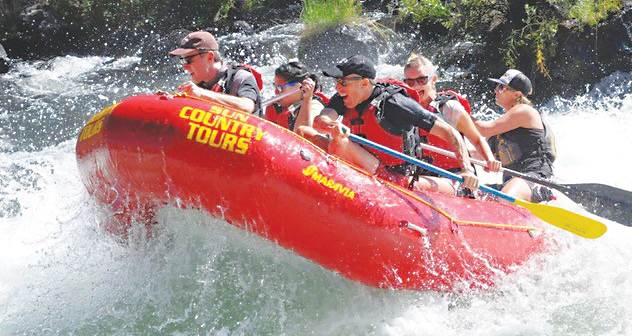 Raft n' Brew trips on the Upper Deschutes River in Bend, Oregon, feature Class III whitewater rapids and a post-trip complimentary beer tasting on the Sun Country Tours patio.
