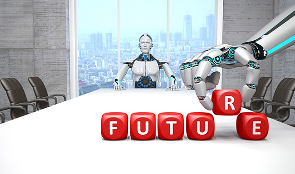 A robot sits at a desk in AI consulting company 3d illustration